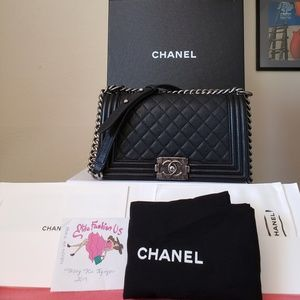 Chanel black caviar boy old medium bag